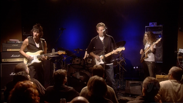 Eric Clapton and Jeff Beck onstage at Ronnie Scott's